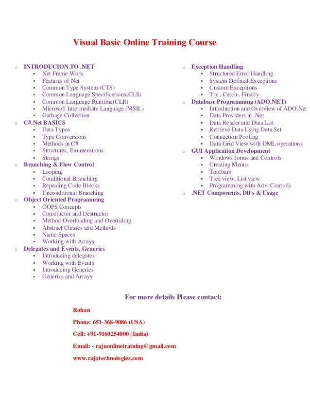 Visual basic online training course