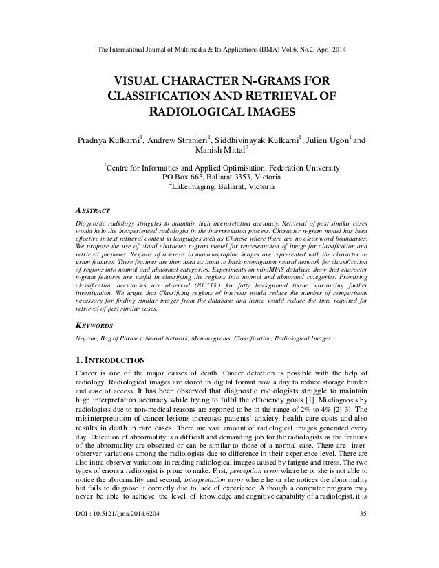 Visual character n grams for classification and retrieval of radiological images