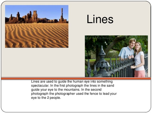 LinesLines are used to guide the human eye into somethingspectacular. In the first photograph the lines in the sandguide y...