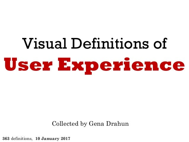 Visual Definitions of User Experience Collected by Gena Drahun 294 definitions, 27 January 2016