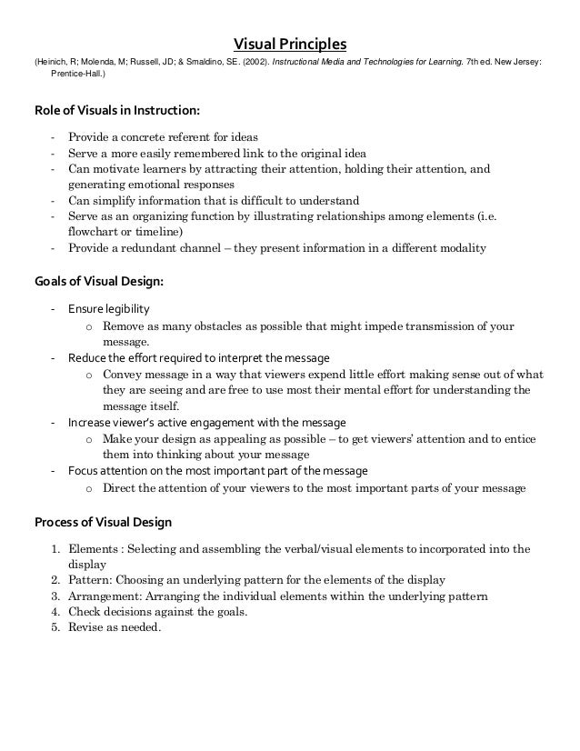 Visual Principles(Heinich, R; Molenda, M; Russell, JD; & Smaldino, SE. (2002). Instructional Media and Technologies for Le...