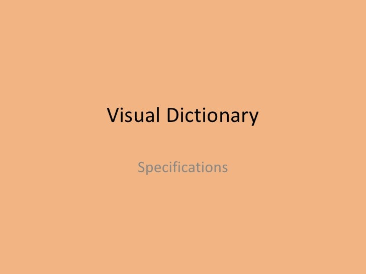 Visual Dictionary Specifications
