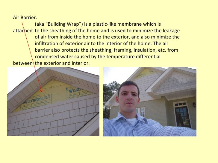 """Air Barrier: (aka """"Building Wrap"""") is a plastic-like membrane which is attached  to the sheathing of the home and is used ..."""