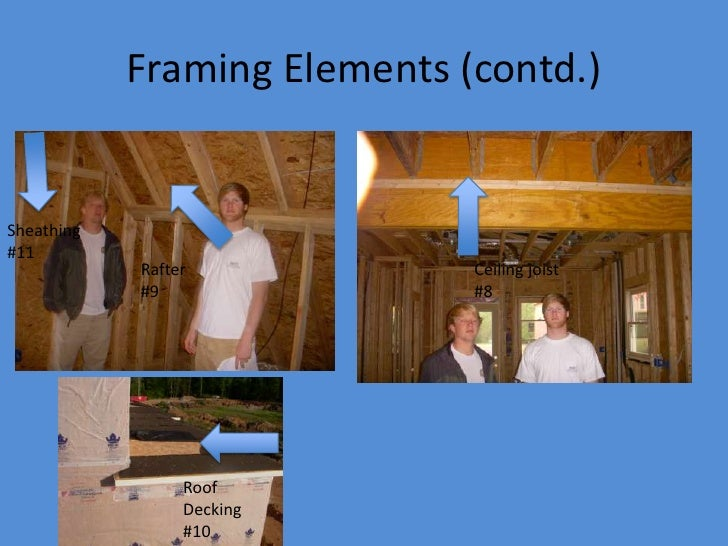 Framing Elements (contd.)   Sheathing #11             Rafter            Ceiling joist             #9                #8    ...