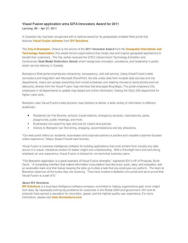 Visual Fusion application wins GITA Innovators Award for 2011<br />Lansing, MI – Apr 27, 2011A Canadian city has been rec...