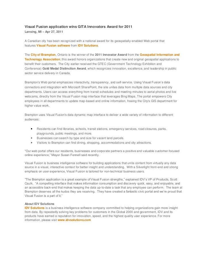 Visual Fusion application wins GITA Innovators award for 2011
