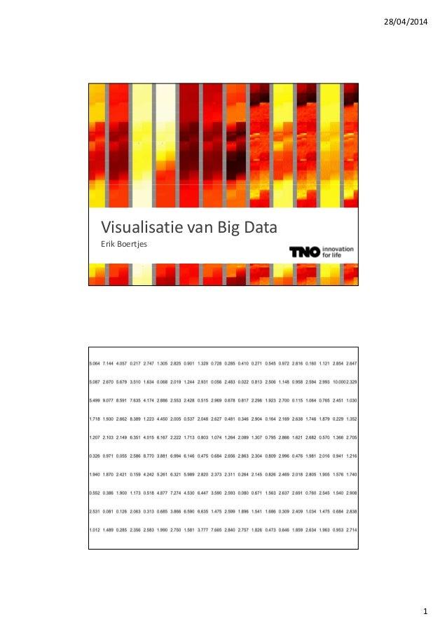 28/04/2014 1 Visualisatie van Big Data Erik Boertjes