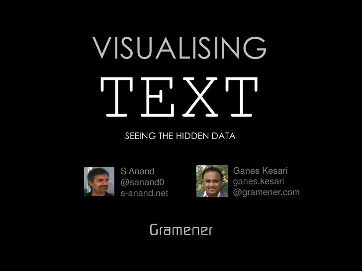 VISUALISINGTEXT  SEEING THE HIDDEN DATA S Anand               Ganes Kesari @sanand0              ganes.kesari s-anand.net ...