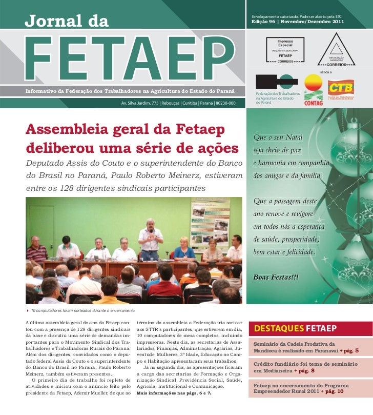 Jornal da FETAEP - Edição 96 - Dezembro de 2011