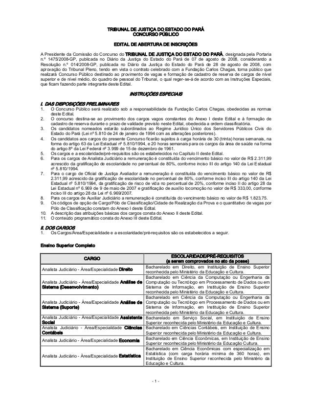 1 TRIBUNALDEJUSTIÇADOESTADODOPARÁ CONCURSOPÚBLICO EDITALDEABERTURADEINSCRIÇÕES APresidentedaComissão...
