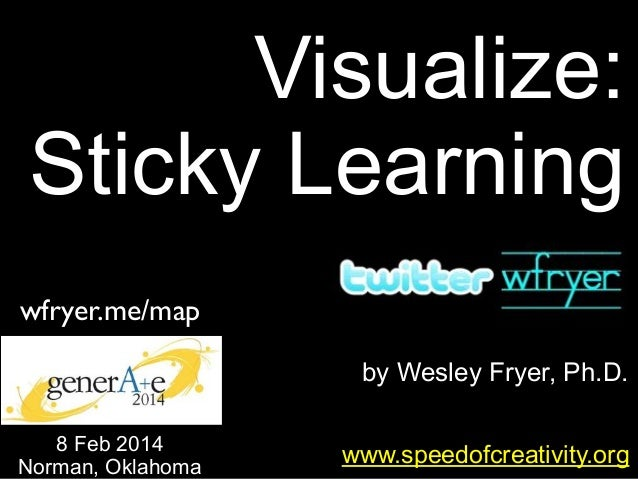 Visualize: Sticky Learning wfryer.me/map by Wesley Fryer, Ph.D. 8 Feb 2014 Norman, Oklahoma  www.speedofcreativity.org