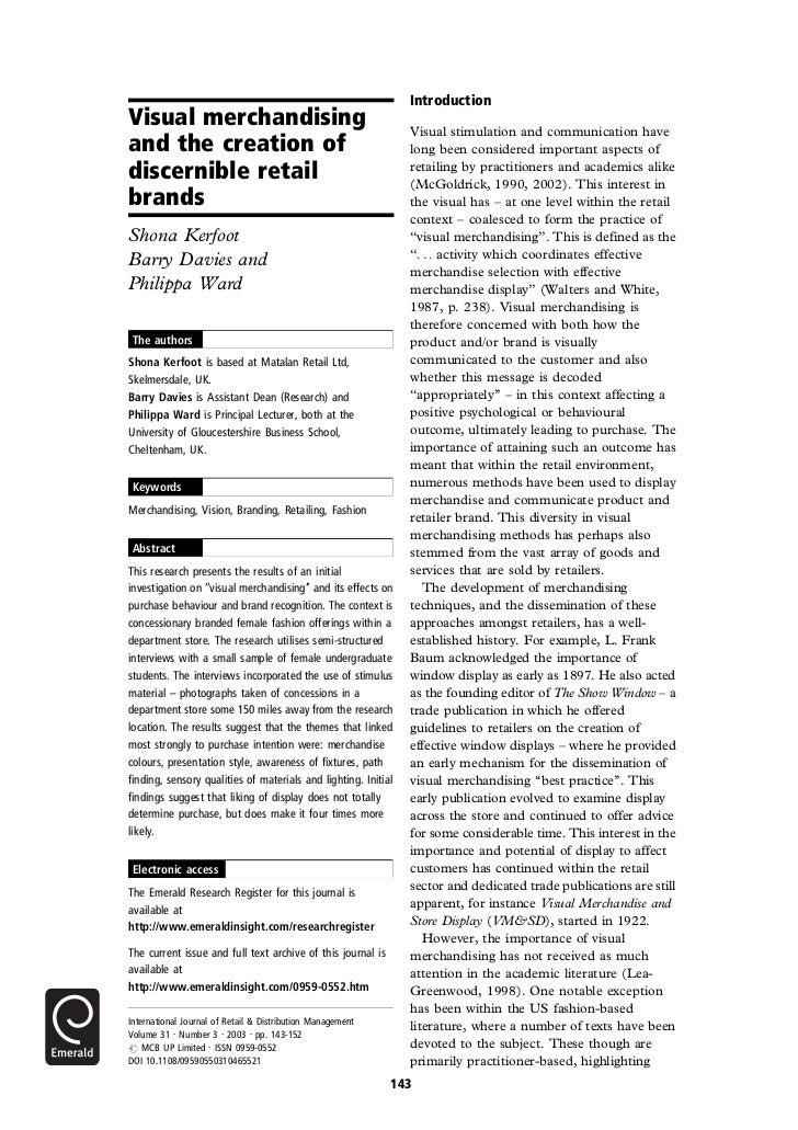 IntroductionVisual merchandising                                            Visual stimulation and communication haveand t...