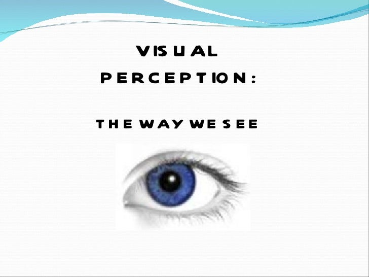 VISUAL PERCEPTION: THE WAY WE SEE