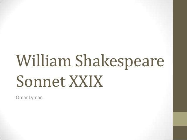 William ShakespeareSonnet XXIXOmar Lyman