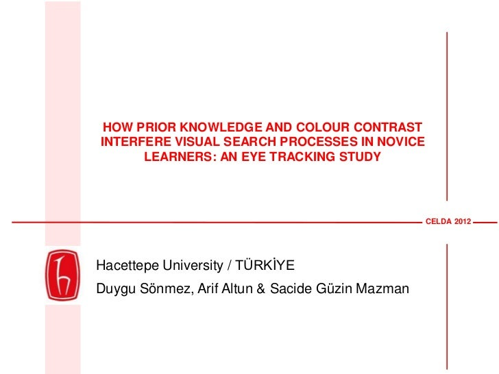 HOW PRIOR KNOWLEDGE AND COLOUR CONTRASTINTERFERE VISUAL SEARCH PROCESSES IN NOVICE      LEARNERS: AN EYE TRACKING STUDY   ...