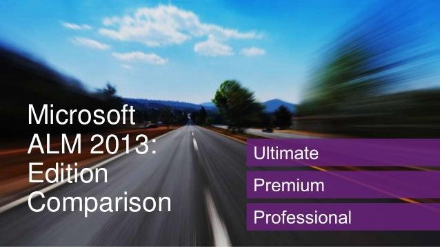Microsoft ALM 2013: Edition Comparison