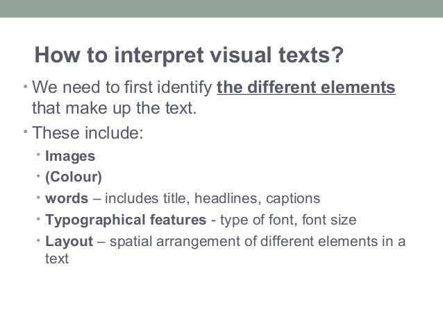 What are the conventions of a visual text?