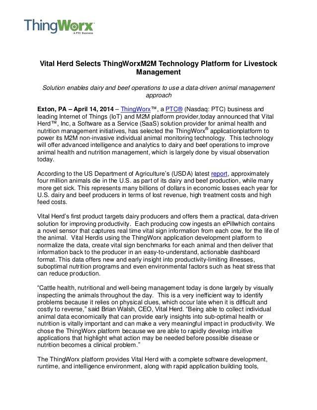 Vital Herd Selects ThingWorx M2M Technology Platform for Livestock Management
