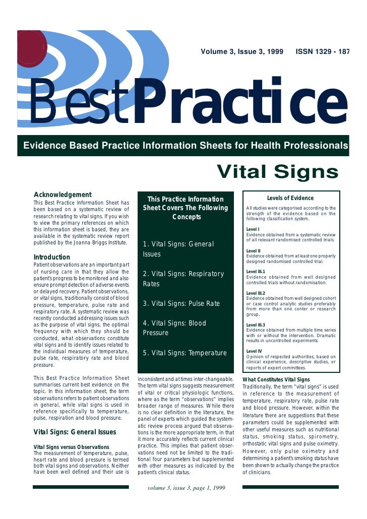 Volume 3, Issue 3, 1999                     ISSN 1329 - 187BestPracticeEvidence Based Practice Information Sheets for Heal...