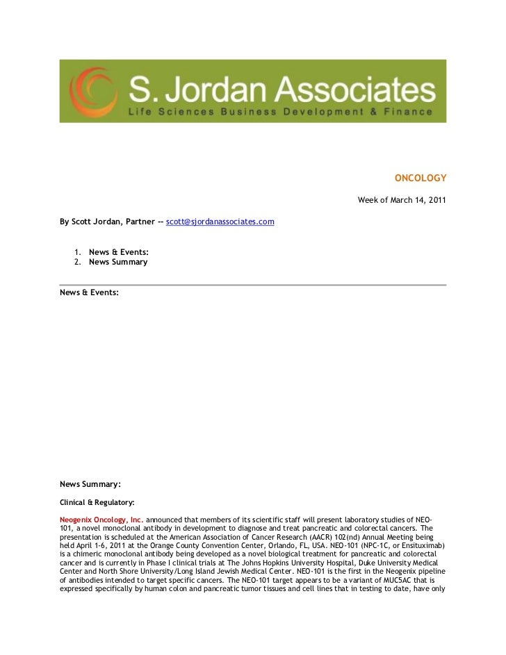 ONCOLOGY<br />Week of March 14, 2011<br />By Scott Jordan, Partner -- scott@sjordanassociates.com  <br />News & Events: <b...