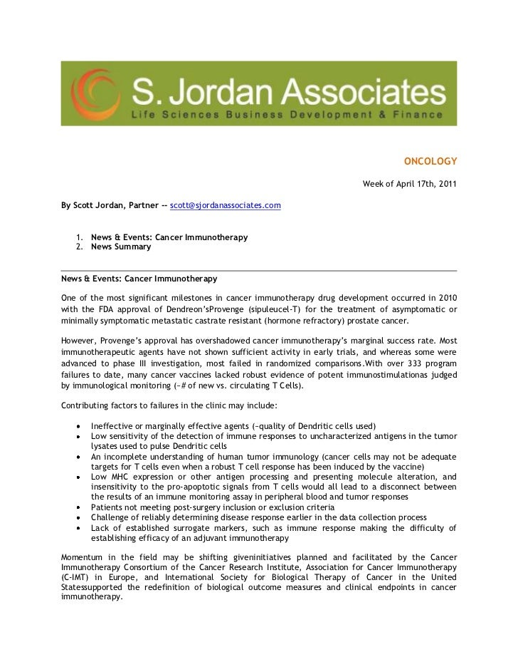 ONCOLOGY<br />Week ofApril 17th, 2011<br />By Scott Jordan, Partner -- scott@sjordanassociates.com <br />News & Events: ...