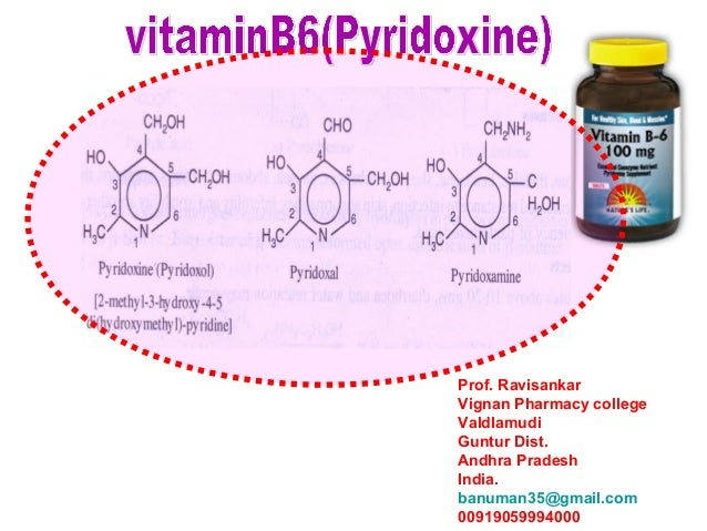VITAMIN B6 [MEDICINAL CHEMISTRY] BY P.RAVISANKAR. SOURCES,STRUCTURES OF PYRIDOXINE,PYRIDOXAL,PYRIDOXAMINE,DEFICIENCY OF VITAMIN B6,PYRIDOXINE ANTAGONISTS, METABOLISM,PHYSIOGICAL IMPORTANCE,SYNTHESIS OF PYRIDOXALAND PYRIDOXAMINE,VITAMIN B6 USES.
