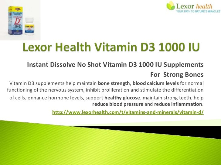 Vitamin D3 1000 Supplements Lexor Health