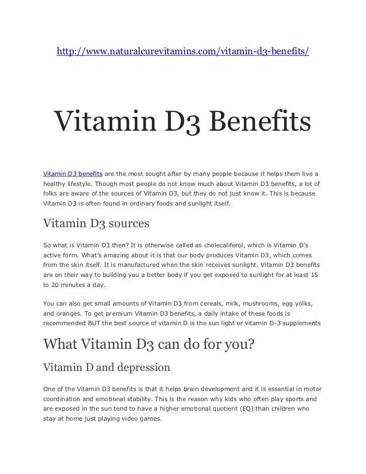 Vitamin d3 and its advantages