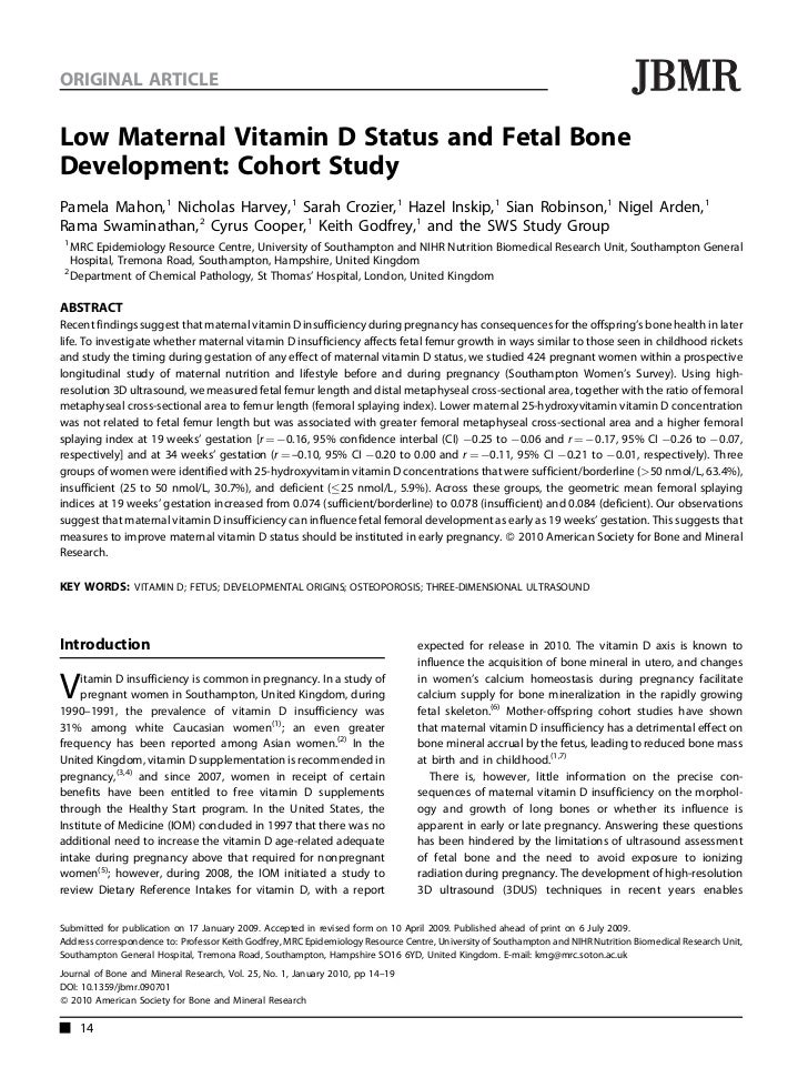 Vitamin D Deficiency In Pre Birth Studies