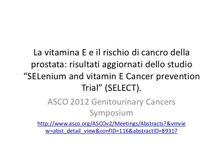 Vitamin e and the risk of prostate cancer