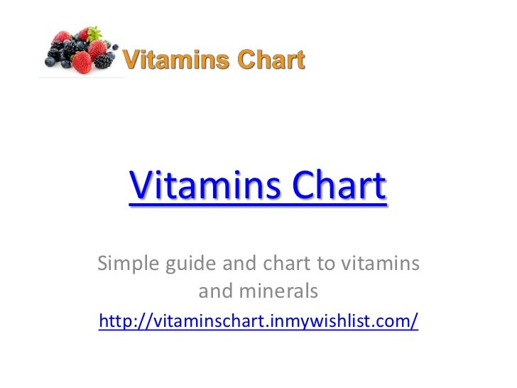 Vitamins ChartSimple guide and chart to vitamins          and mineralshttp://vitaminschart.inmywishlist.com/