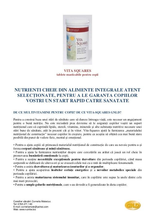 VITA SQUARES                                       tablete masticabile pentru copii NUTRIENTI CHEIE DIN ALIMENTE INTEGRALE...