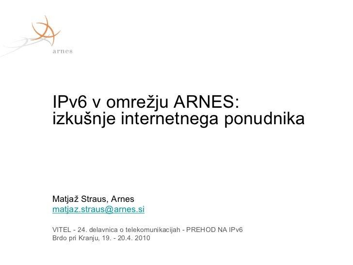 Vitel, 24. delavnica: Arnes - izkušnje internetnega ponudnika