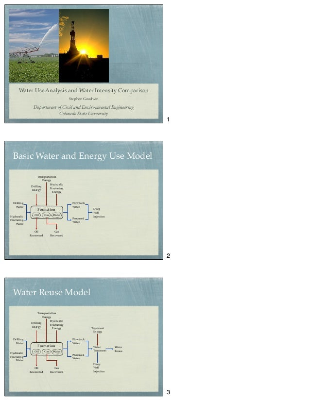 Water Use Analysis and Water Intensity Comparison Stephen Goodwin Department of Civil and Environmental Engineering Colora...