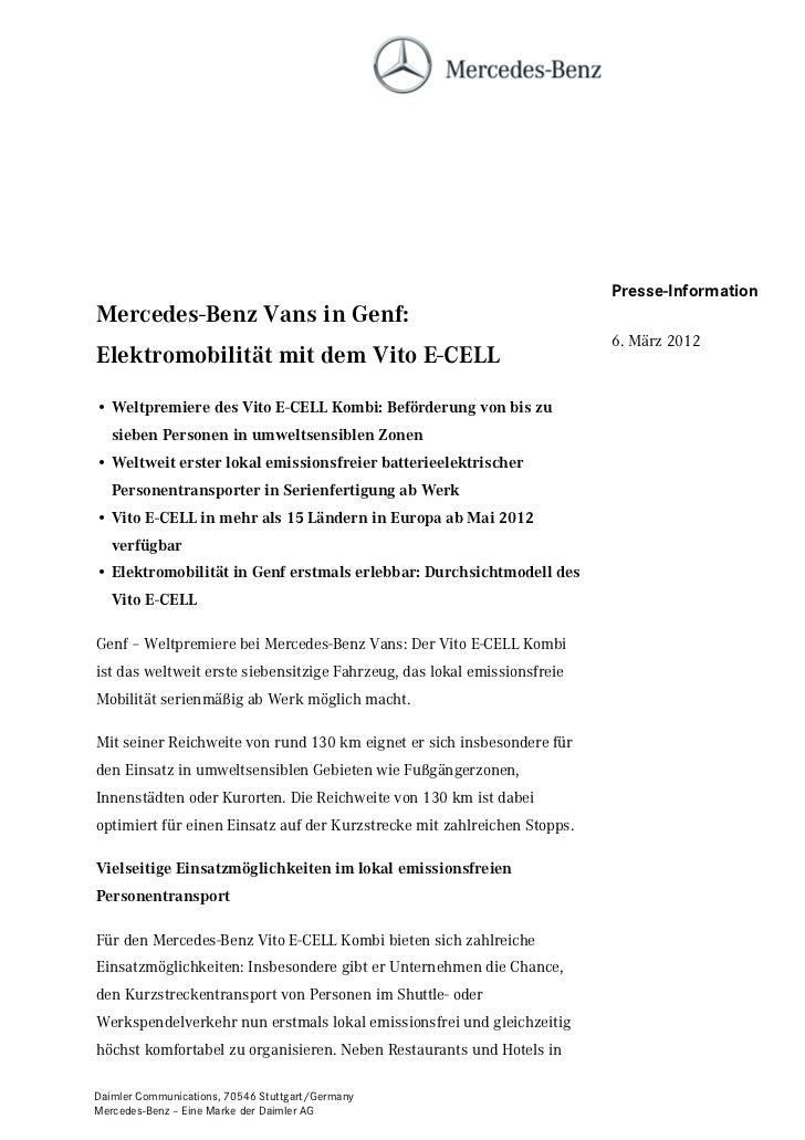 Presse-InformationMercedes-Benz Vans in Genf:                                                                          6. ...