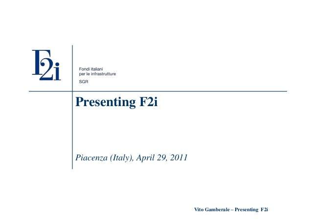 Vito gamberale presenting F2i