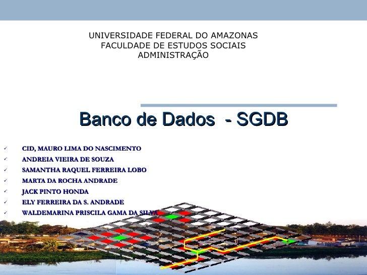 Banco de Dados  - SGDB <ul><li>CID, MAURO LIMA DO NASCIMENTO </li></ul><ul><li>ANDREIA VIEIRA DE SOUZA </li></ul><ul><li>S...