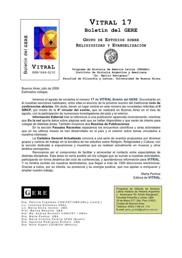 Vitral, Boletín del GERE Nº 17