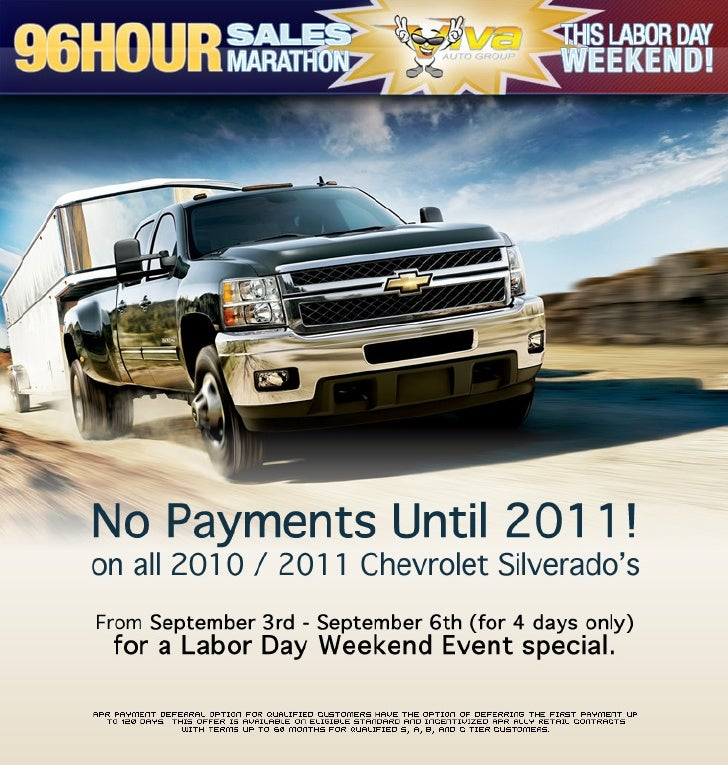 Labor Day Weekend Chevy Silverado APR Payment Deferral Option Viva Chevrolet El Paso TX