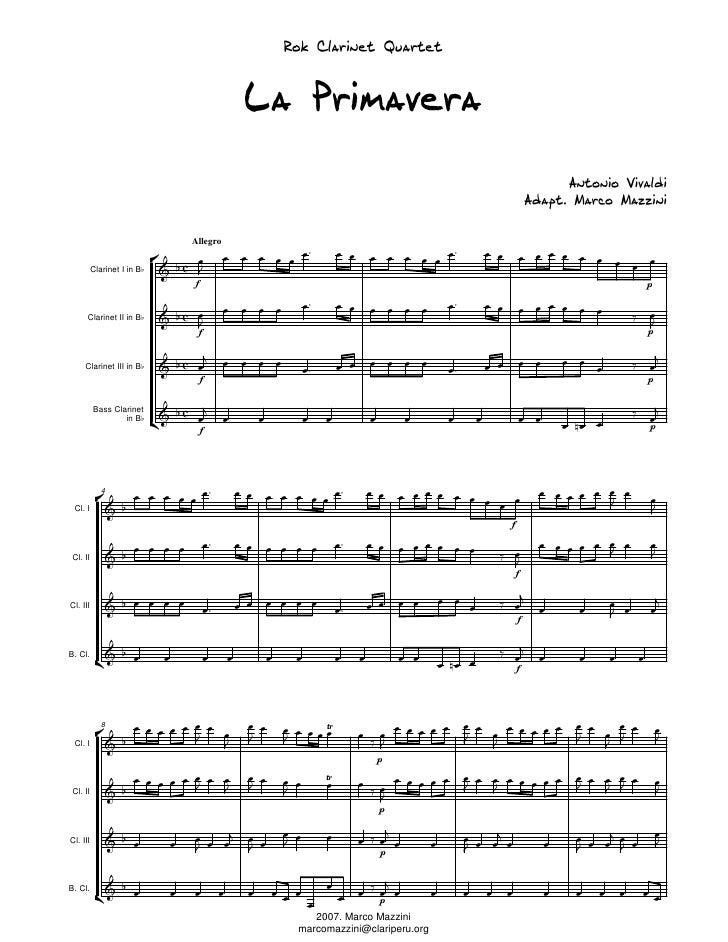 Rok Clarinet Quartet                                          La Primavera                                                ...