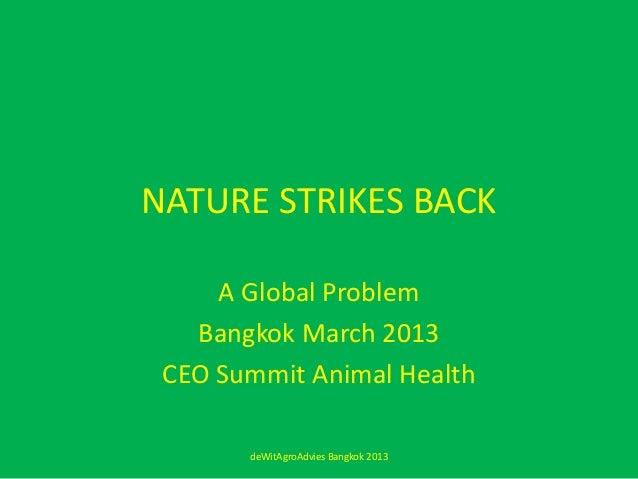 NATURE STRIKES BACK     A Global Problem   Bangkok March 2013 CEO Summit Animal Health       deWitAgroAdvies Bangkok 2013