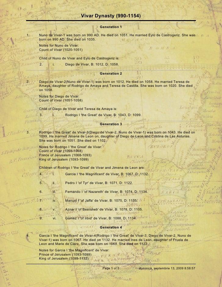 Vivar Dynasty (990-1154)                                              Generation 1  1.   Nuno de Vivar-1 was born on 990 A...