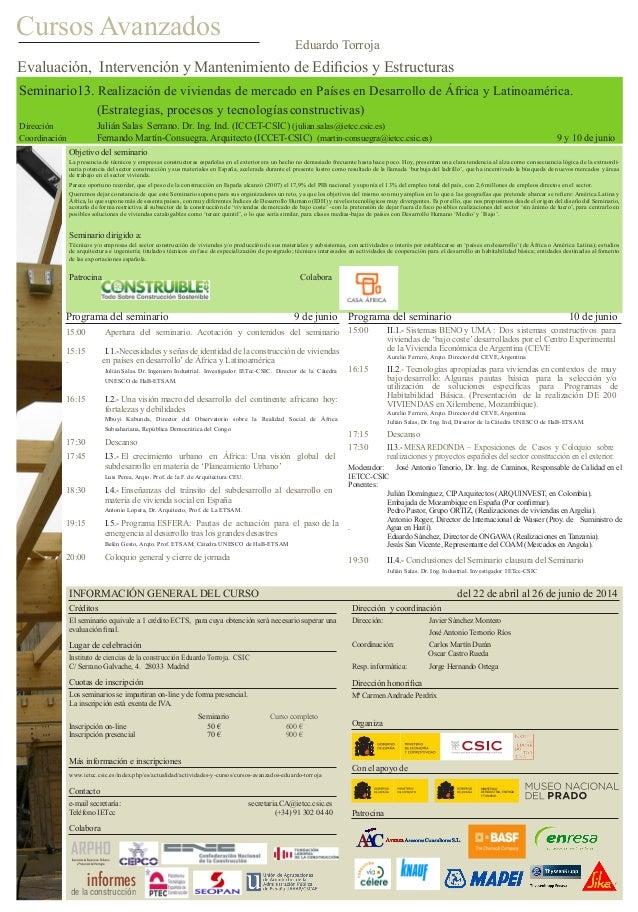 Seminario13. Realización de viviendas de mercado en Países en Desarrollo de África y Latinoamérica.  (Estrategias, proce...