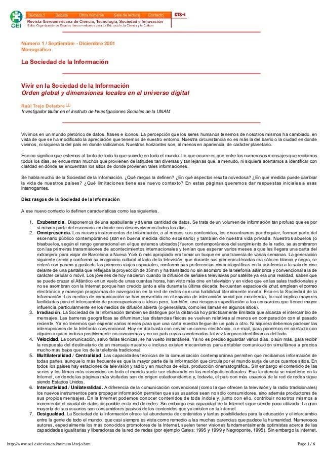 Número1/Septiembre- Diciembre 2001        Monográfico        LaSociedaddelaInformación        VivirenlaSociedad...
