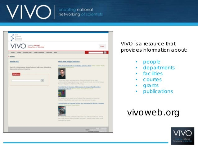 VIVO is a resource thatprovides information about:      •   people      •   departments      •   facilities      •   cours...