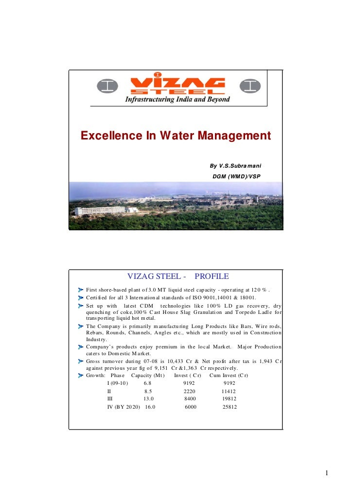 Excellence In Water Management                                                      By V.S.Subra mani                     ...