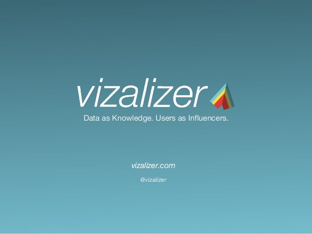 Data as Knowledge. Users as Influencers. vizalizer.com @vizalizer