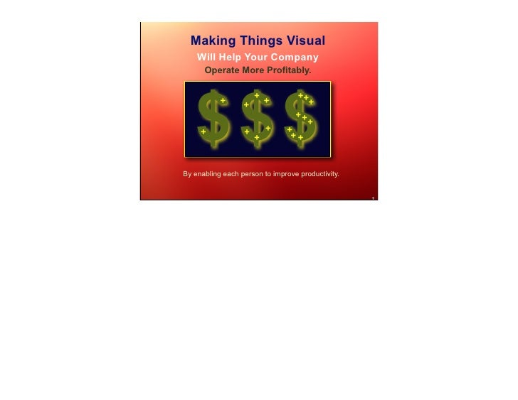 Making Things Visual     Will Help Your Company       Operate More Profitably.        $$$                       +         ...