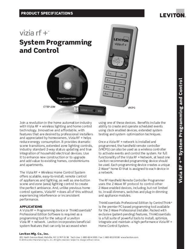 Vizia rf + system programming and control