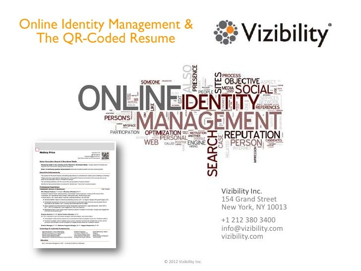 Online Identity Management & The QR Coded Resume